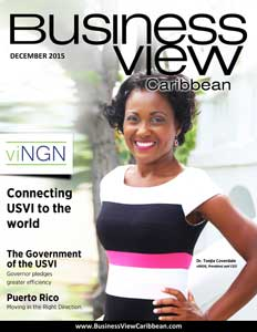 December 2015 issue cover for Business View Caribbean.