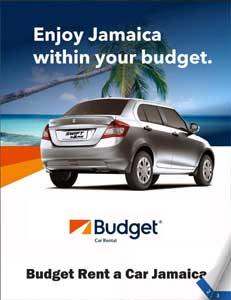 Budget Rent a Car Jamaica brochure cover.