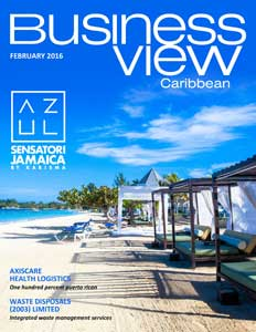 February 2016 issue cover of Business View Caribbean.