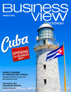 March 2016 issue cover of Business View Caribbean. Lighthouse on the cover.