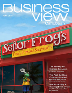 Business View Caribbean June 2016 issue cover showing a Senor Frog's storefront.