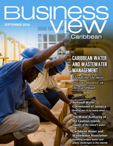 Business View Caribbean cover for the September 2016 issue. Showing men in hard hats kneeling to work.