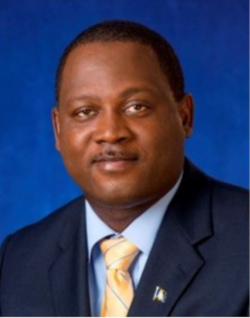 A portrait view of The Honorable Donville O. Inniss, Minister to the Ministry of Industry, International Business, Commerce and Small Business Development.