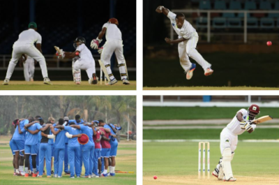Four photos of cricket players of the West Indies Cricket Board.