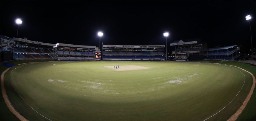West Indies Cricket Board. A special fish eye view of a stadium.
