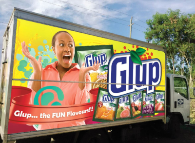 Independence Agencies Ltd. The side of a box truck with a bright ad for Glup.
