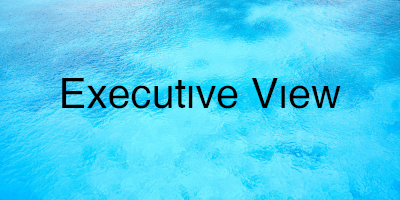 Executive View in text on top of blue water.