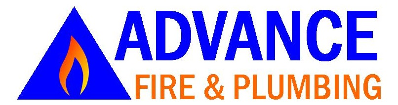 Blue triangle with a flame inside and the company name of Advance Fire & Plumbing