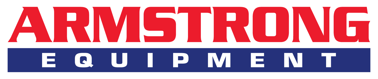 Armstrong Equipment logo. Armstrong in red caps at the top, with equipment below in white caps with a background color on only that word.