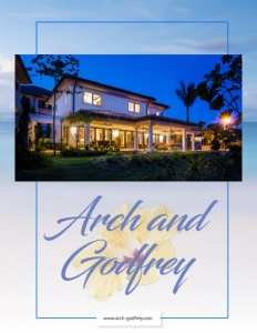 Arch and Godfrey brochure cover showing a house with lights on just before dark.