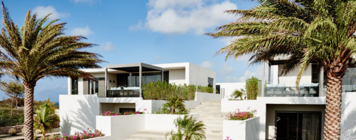 A view of a modern caribbean house with many planters built in to walkways, palms trees and blue skies.