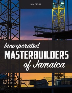 Incorporated Masterbuilders of Jamaica brochure cover showing steel construction towers at sunset.
