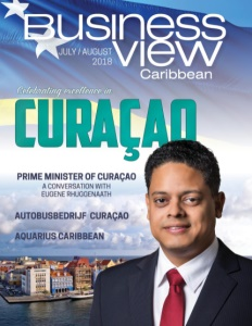 Business View Caribbean July issue cover showing the Prime Minister of Curacao.
