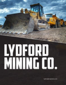 Lydford Mining Co. brochure cover showing a line of construction vehicles with a bulldozer in front.