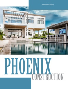 Phoenix Construction brochure cover show the backyard view of a nice house with a separate pool building with a bar and tv.