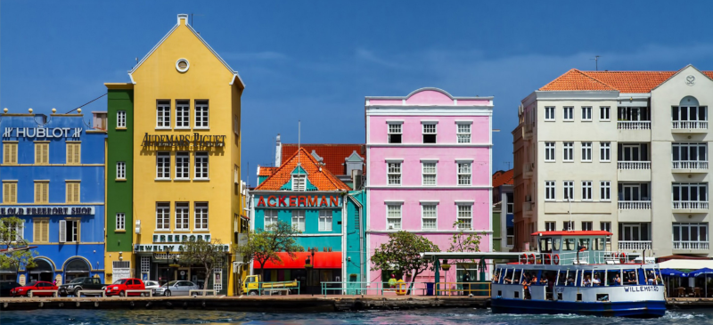 Colorful buildings along the water in the caribbean.