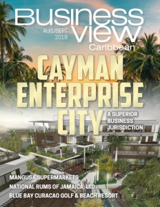 August 2018 issue cover for Business View Caribbean.