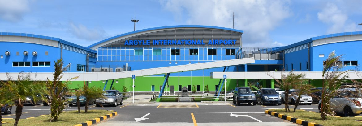 Argyle International Airport Terminal view from the road show parking lots and the front of the building.