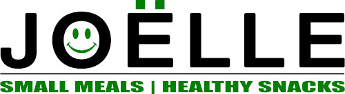 Joëlle logo with text; Small Meals | Healthy Snacks.