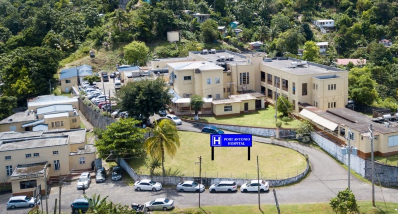 Northeast Regional Health Authority in Jamaica. Port Antonio Hospital aerial view.