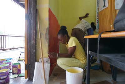 Berger Paints Barbados Limited. In action in a classroom.