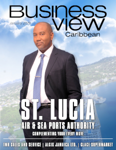 January 2019 issue cover for Business View Caribbean; featuring St. Lucia Air & Sea Ports Authority.