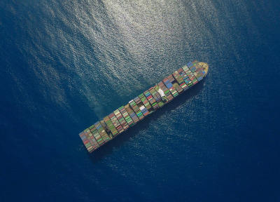 St. Lucia Air and Sea Ports Authority (SLASPA), aerial view of container ship in the ocean.