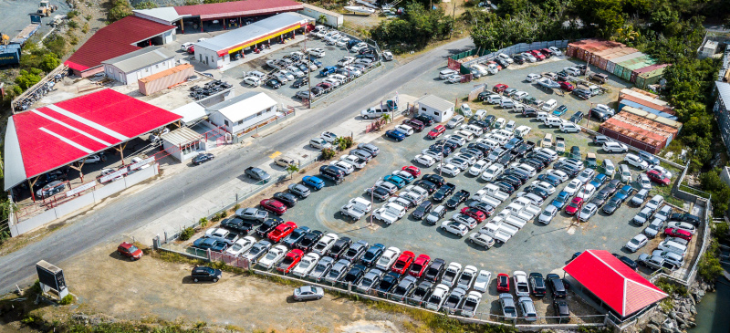 Aerial view of the car lot for International Motors BVI / British Virgin Islands.