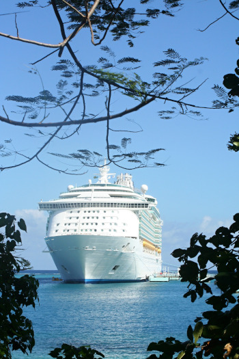 Ministry of Tourism, Jamaica; Cruise ship on the water seen through branches.