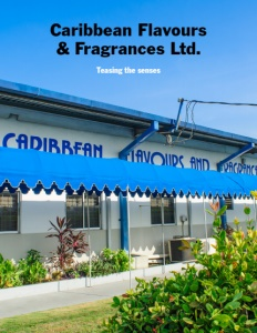 Caribbean Flavours & Fragrances Ltd. brochure cover showing their storefront.