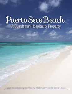 Puerto Seco Beach brochure cover.