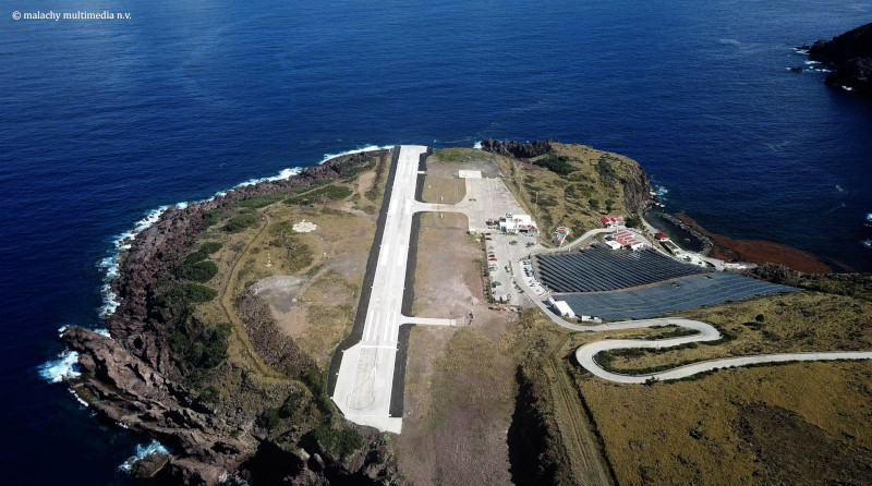 Winward Roads Infrastructure aerial photo of their Saba Airport project.