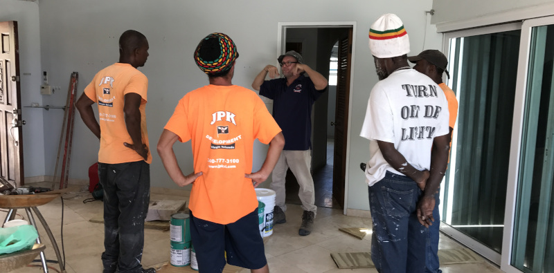 JPK Developement of the US Virgin Islands. Jay Knoepfel talking to crew on job site.