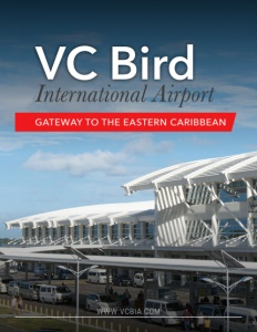 VC Bird International Airport brochure cover.