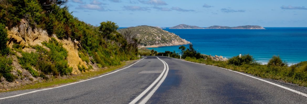 Virgin Islands Paving Inc. stock image of a road in the caribbean.