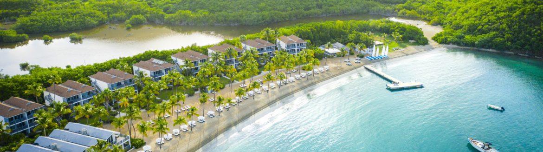 Carlisle Bay Resort Antigua aerial view of the beach resort.