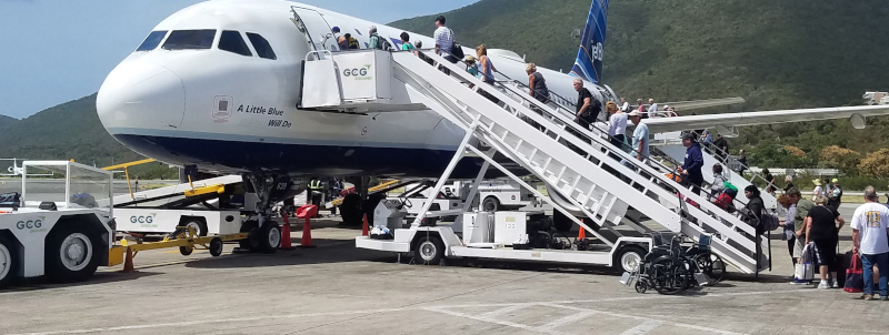GCG Ground Services loading passengers onto a plane.