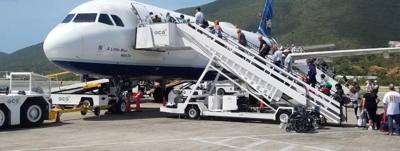GCG Ground Services loading passengers onto a plane.